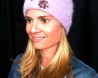 Sale - Lilac angora beanie with sequin flower.  Non profit
