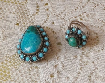 Brooch ring turquoise silver set