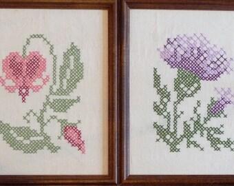 Jane Snead Samplers Vintage Cross Stitch Embroidery Kit 816 Bleeding Heart  & Thistle