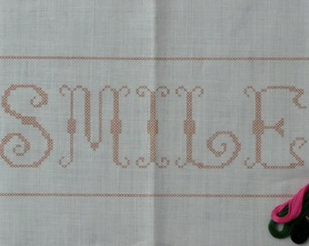 Jane Snead Samplers 367 Smile Vintage Stamped Cross Stitch Embroidery Kit