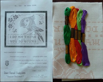 Jane Snead Samplers Vintage Cross Stitch Embroidery Kit  522 Do Your Thing