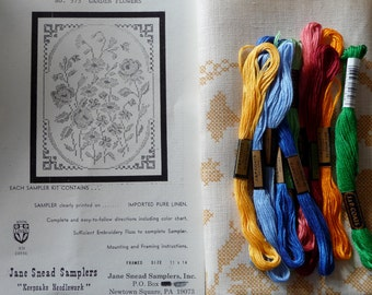 Jane Snead Samplers Vintage Cross Stitch Embroidery Kit  575 Garden Flowers