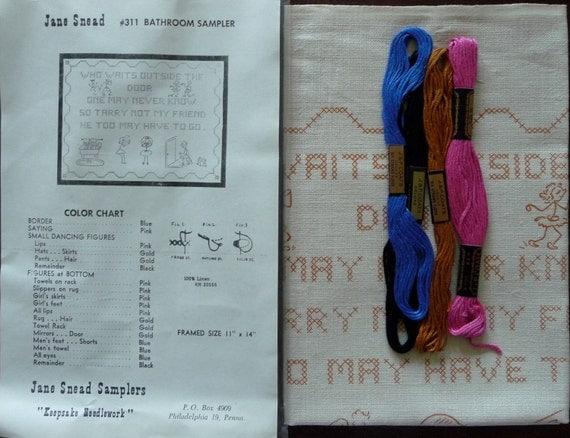 Jane Snead Samplers Vintage Cross Stitch Embroidery Kit 311 Bathroom Sampler