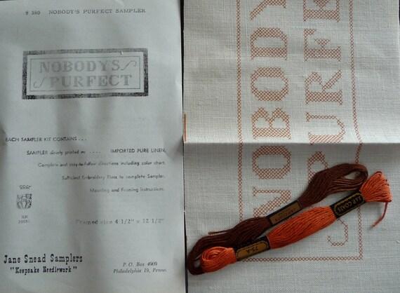 Jane Snead Samplers Vintage Cross Stitch Kit 380 Nobody's Purfect Sampler
