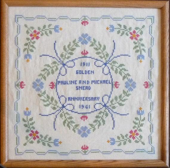 Jane Snead Samplers Vintage Cross Stitch Embroidery Kit 417 Anniversary Sampler