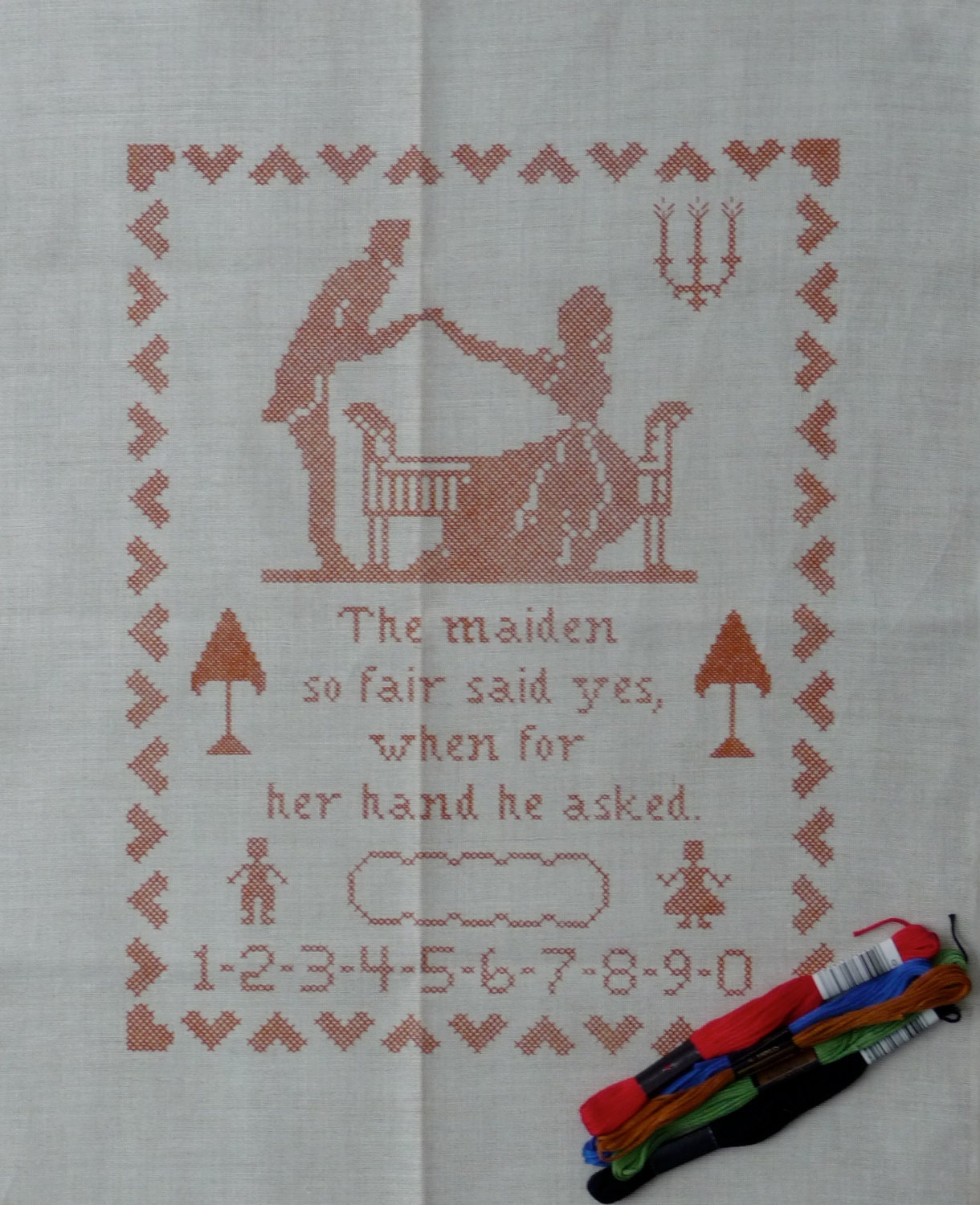 Jane snead samplers vintage cross stitch embroidery kit