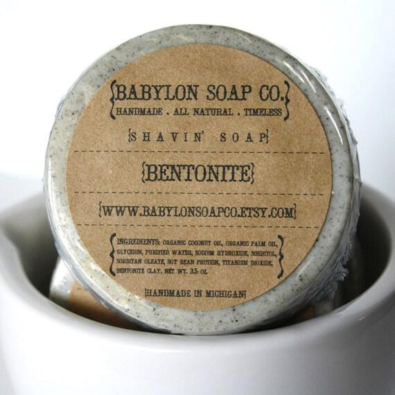 Bentonite Clay Shaving Soap . Exfoliating Soap . All Natural Soap . Handmade Soap . Fragrance Free Soap . Vegan Friendly Soap