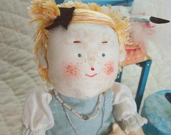OOAK  Art Doll Biscuit As Alice in Wonderland Collector Doll Set Fascinator Hatbox Cat Butterfly  OOAK Teapot