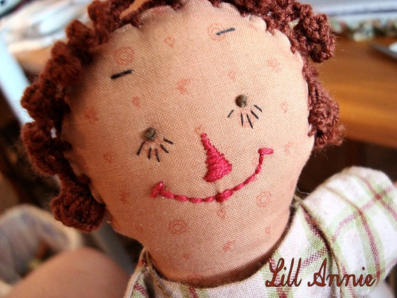 RESERVED FOR I.    Annie Raggedy Ann Collectors Primitive 10 inch Soft Cloth Doll Removable Clothing Handmade