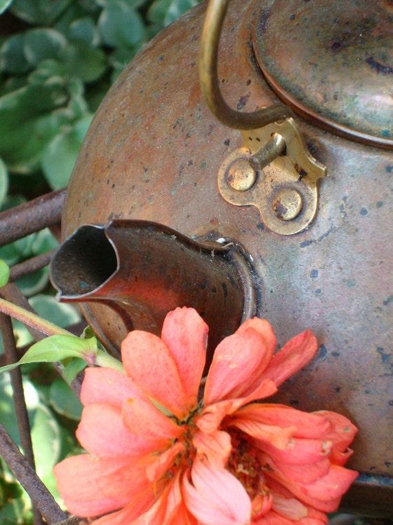 Tea kettle, Copper, Vintage, Wood Handle, Patina, Revereware