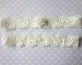 Ivory Garter Set / Wedding Garter - Simply Elegance and Pearls Bridal Garter Set (including toss garter)