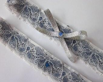 Bridal Garter Set -  'Betty' Something Blue Bridal Garter **Special Offer for Limited Time ONLY 15% Off** Navy Blue Garter Set UK - Garter