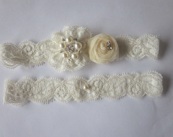 Bridal Garter NEW 2012 - Simply Lace and Rosebud Bridal Garter Set