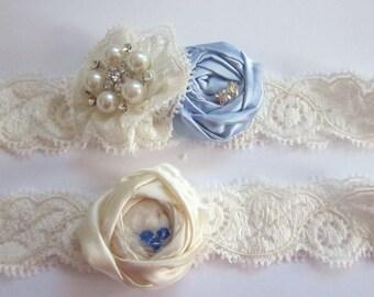 Bridal Garter Set - Something Blue Garter - Wedding Garter - Luxury Bridal Garter  (including toss garter) - Bridal Garter UK - Garter Set
