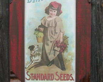 DM Ferry seed poster with old rusty tin accents