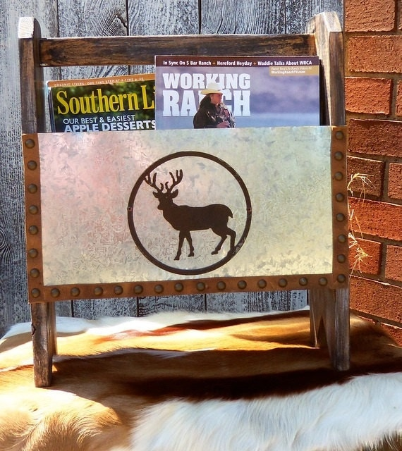 rustic home decor magazines western decor rustic magazine holder with deer by rustinrose 11733