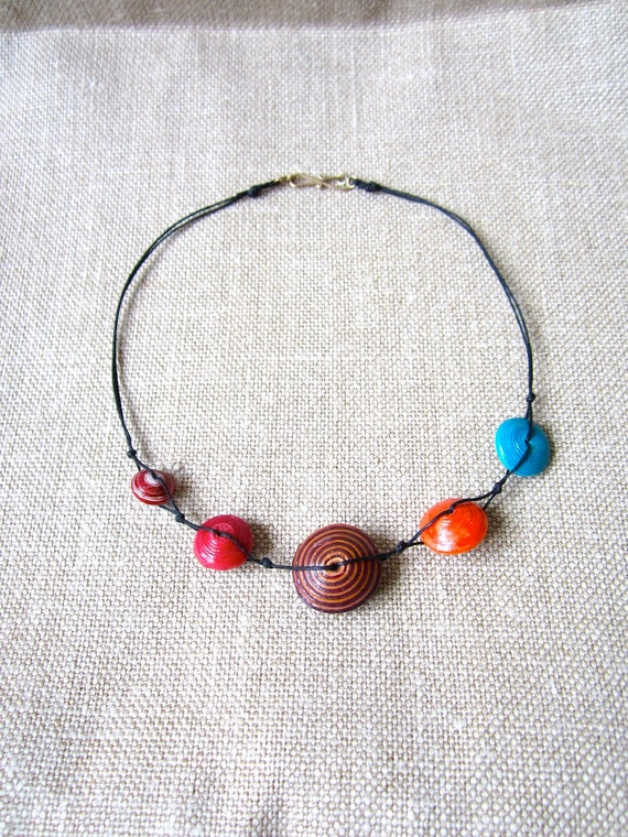 Necklace, colorful, paper beads, recycled paper beads, African Ugandan