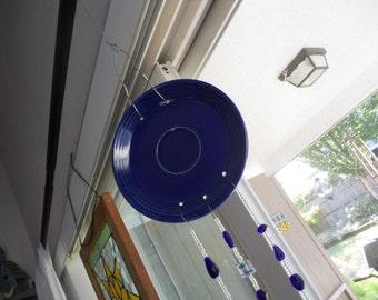 Decorative Upscaled Recycled Blue Fiesta Plate Windchime