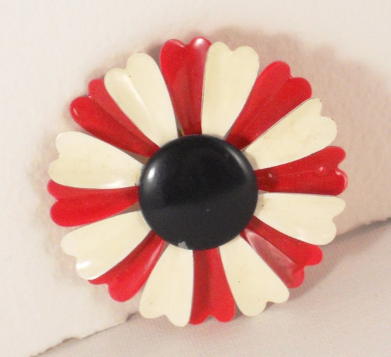 Red White and Blue Mod 60s  Flower Brooch