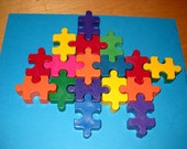 Set of (3) Chunky Puzzle Piece Crayons Rainbow Colors. Perfect for any Party.