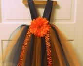 Auburn Tigers Cheerleader Tutu w/ Flower or Your Team Tutu Custom Made, Girls Size Infant 3-9 months (sewn, not tied)