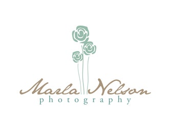 Premade Logo for Photographers and Small Crafty Boutiques Blue Flowers