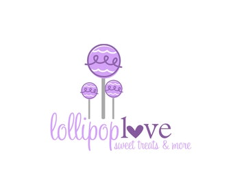Premade Logo Design for Photographers and Small Crafty Boutiques Purple Lollipops