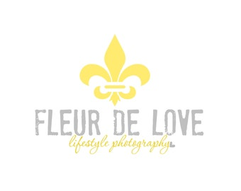 Premade Logo Design for Photographers and Small Crafty Boutiques Yellow Fleur De Lis