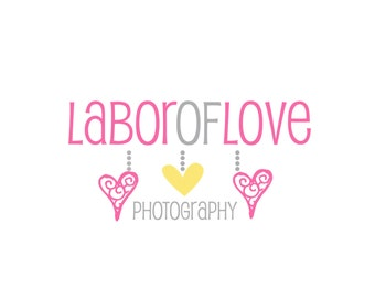 Premade Logo Design for Photographers and Small Crafty Boutiques Dangling Hearts