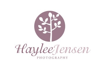 Premade Logo Design for Photographers and Small Crafty Boutiques Purple Tree Silhouette