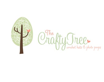 Premade Logo Design for Photographers and Small Crafty Boutiques Swirly Tree with Coral Hearts