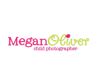 Premade Logo Design for Photographers and Small Crafty Boutiques Lime and Fuschia Text with Flower