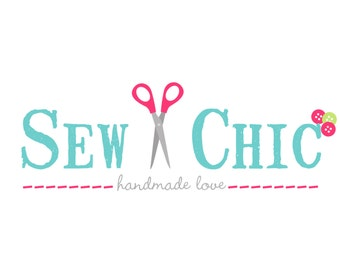 Premade Logo and Watermark for Small Crafty Boutiques and Photographers Stamp Text Sewing Logo