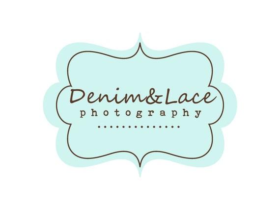 Custom Logo Design Premade Logo for Photographers and Small Crafty Boutiques Aqua Stitched Frame