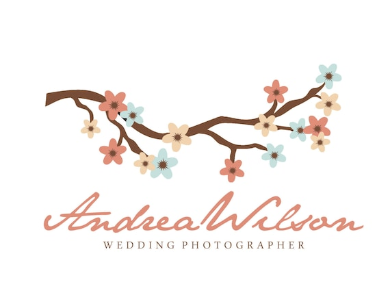 Premade Logo Design for Photographers and Small Crafty Boutiques Cherry Blossom Branch