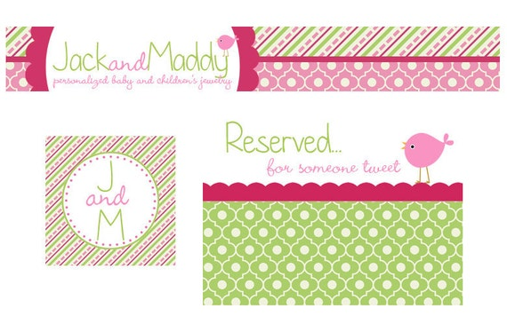 Premade Etsy Banner and Avatar Set for Small Crafty Boutiques Green and Pink Patterns with Birdee