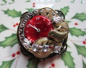 Brooch, Vintage Steampunk -Timeless in Red