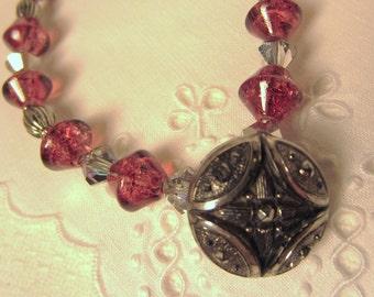 Vintage Bracelet, Silver and Rose