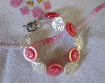 Bracelet, Vintage Button - Pink Perfection