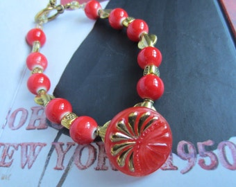 Red with Gold Burst Vintage Button Bracelet