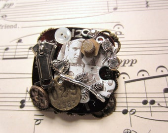 Steampunk Brooch-- with a touch of Elvis