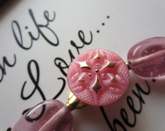 Vintage Button Bracelet, Pink Glass
