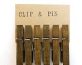 Mini Clothespins - Olive / Brown - Medium - Set of 6