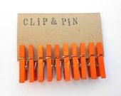 Mini Clothespins - Tangerine / Orange - Small