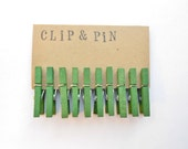 Mini Clothespins - Pine / Green - Set of 10 - Small