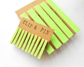 Neon Green Glitter Clothespins - Set of 5 - Large