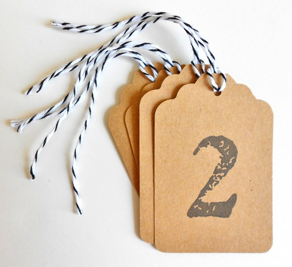 Numbered Kraft Gift Tags - You choose the number - Hand Stamped - Set of 20 - Free US Shipping
