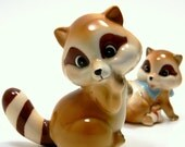 Raccoon Figurine Pair, Vintage 1960s Mid Century Collectibles