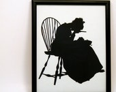NOW 40% OFF Antique Silhouette Paper-cut, Beautiful Detailed Hand Cut Artwork