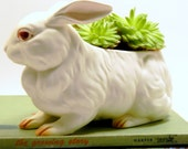 White Rabbit Planter, Vintage Lefton Spring Decor